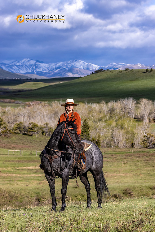 Cowboy at the Theodore Roosevelt Memorial Ranch near Dupuyer, Montana, USA Model Released