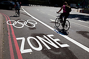 Along a road in south London is one of the Olympic Games lanes which will ensure that Olympic officials and althletes will be able to travel to and from venues without delats. London, England, UK.