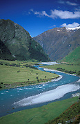 Matukutuki Valley, New Zealand, showing valley and fast flowing river