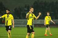 Burton Albion defender Kyle McFadzean (5) celebrates the 1-0 win after the final whistle during the EFL Sky Bet League 1 match between Burton Albion and Coventry City at the Pirelli Stadium, Burton upon Trent, England on 17 November 2018.