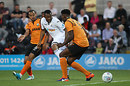 Jordan Ayew of Swansea city © takes a shot at goal. Pre-season friendly match, Barnet v Swansea city at the Hive in London on Wednesday 12th July 2017.<br /> pic by Steffan Bowen, Andrew Orchard sports photography.