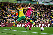 Norwich City defender Jamal Lewis (12) challenges for the ball during the EFL Sky Bet Championship match between Norwich City and Queens Park Rangers at Carrow Road, Norwich, England on 6 April 2019.