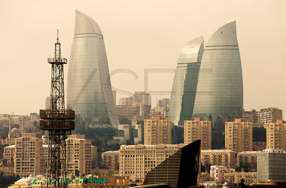 Baku was awarded the right to host of the first European Games, a multi-sport event.<br /> Cityscape with the imposing Flame Towers, an important landmark that supports a hotel, residential and office facilities and that is linked by centrally located retail and leisure areas. Azeri GDP grew 41.7% in the first quarter of 2007, possibly the highest of any nation worldwide, as the country economy completed its post-Soviet transition into a major oil based economy.