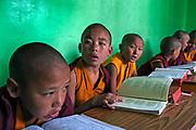 Novice monks in class at Sarnath, Varanasi, Uttar Pradesh