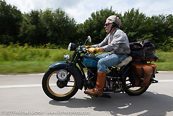 Frank Westfall riding his 1930 Henderson KJ in the Cross Country Chase motorcycle endurance run from Sault Sainte Marie, MI to Key West, FL. (for vintage bikes from 1930-1948). Stage-9 covered 259 miles from Lakeland, FL to Miami, FL USA. Saturday, September 14, 2019. Photography ©2019 Michael Lichter.