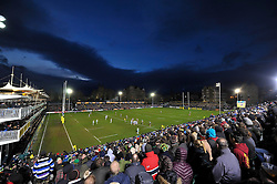 A general view of the Recreation Ground pitch during the match - Mandatory byline: Patrick Khachfe/JMP - 07966 386802 - 05/12/2015 - RUGBY UNION - The Recreation Ground - Bath, England - Bath Rugby v Northampton Saints - Aviva Premiership.