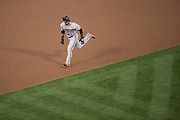 San Francisco Giants left fielder Gorkys Hernandez (66) runs to third base on a base hit against the Oakland Athletics at Oakland Coliseum in Oakland, California, on August 1, 2017. (Stan Olszewski/Special to S.F. Examiner)