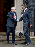Prime Minister Boris Johnson meeting Andrej Plenkovic Prime Minister of Croatia, to Downing street. London, UK. 24.02.20