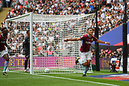 Aston Villa midfielder Anwar El Ghazi (22)  celebrates scoring goal to go 1-0 during the EFL Sky Bet Championship play off final match between Aston Villa and Derby County at Wembley Stadium, London, England on 27 May 2019.