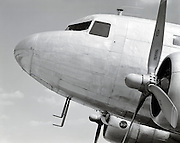 Detail of a DC-3 airplane, shot at the Griffin, Georgia airfield.