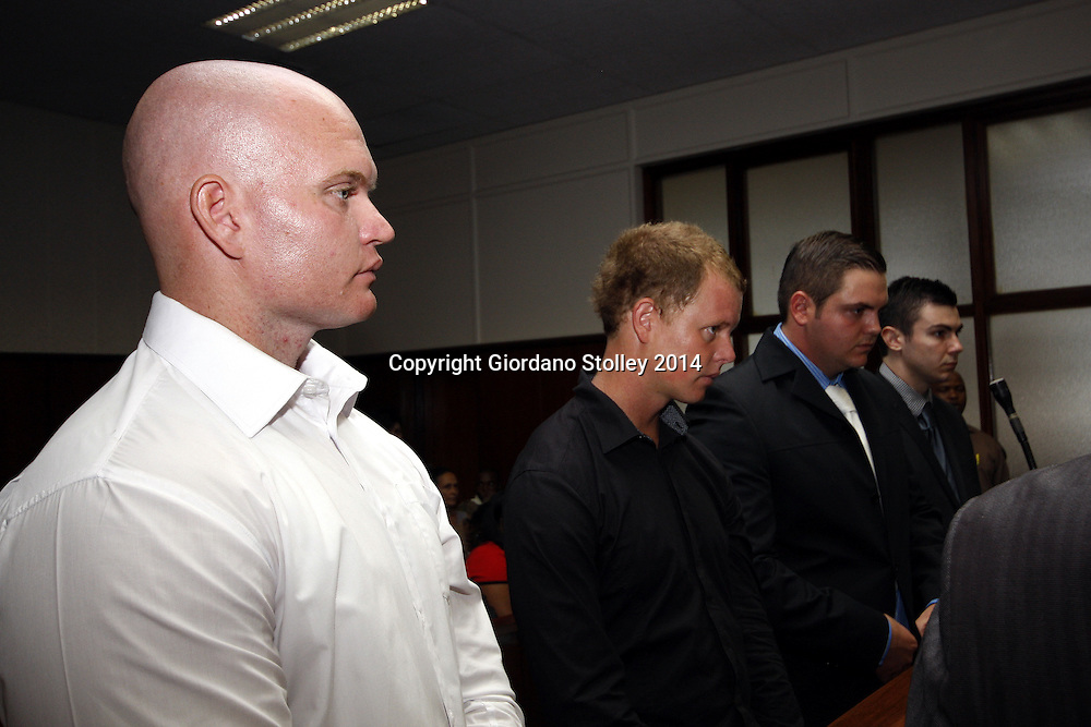 DURBAN - 10 March 2014 -  Four men -- Blayne Shepard (left), Kyle Shepard, Andries van der Merwe and Dustin van Wyk appear in the Durban Regional Court on charges of beating to death former Royal Marine Brett Williams at Kings Park Stadium following a Super Rugby XV match in March 2013. Picture: Allied Picture Press/APP