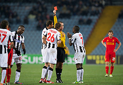 06.12.2012, Stadio Friuli, Udine, ITA, UEFA EL, Udinese Calcio vs FC Liverpool, Gruppe A, im Bild Udinese Calcio's Giovanni Pasquale is shown a red card and sent off by referee Duarte Gomes during during the UEFA Europa League group A match between Udinese Calcio and Liverpool FC at the Stadio Friuli, Udinese, Italy on 2012/12/06. EXPA Pictures © 2012, PhotoCredit: EXPA/ Propagandaphoto/ David Rawcliffe..***** ATTENTION - OUT OF ENG, GBR, UK *****