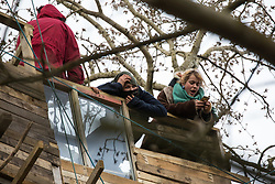 Steeple Claydon, UK. 23 February, 2021. An anti-HS2 activist recites a poem from a tree house during an operation by National Eviction Team bailiffs acting for HS2 Ltd to evict activists living in ancient woodland known as Poors Piece. The activists created the Poors Piece Conservation Project there in spring 2020 after having been invited to stay on the land by its owner, farmer Clive Higgins. Already, local village communities have been hugely impacted by HS2, with 550 acres of land seized including a large section of a nature reserve.