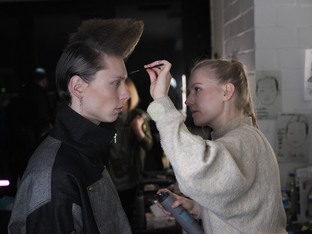 DEU, Deutschland, Berlin, 16.01.2020 /<br /> Backstage at the event location Griessmuehle in Berlin, where models get ready for the fashion show by fashion label DAMUR. The show is part of the Berlin fashion Week, where the new Fall/ Winter 2020 collections are being presented.