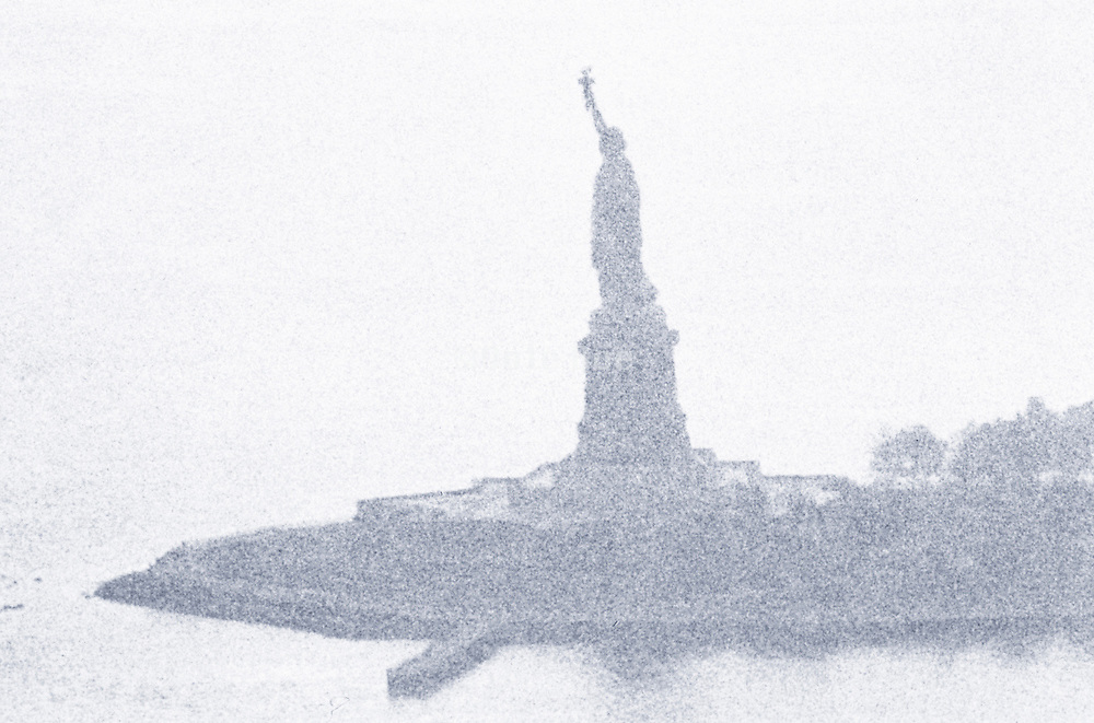 View of the Statue of Liberty through the fog
