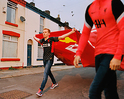 """LIVERPOOL, ENGLAND - Monday, July 20, 2020: Liverpool's new Nike third kit for the 2020/21 season. LFC say """"it's design is heavily influenced by the array of chequered flags and banners that decorate the Kop each home game during European competitions."""" (Credit: ©Liverpool FC)"""