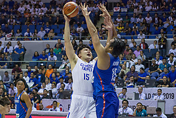 November 27, 2017 - Cubao, Quezon City, Philippines - Kuan-Chuan Chen challenge the defense of June Mar Fajardo.Gilas Pilipinas defended their home against Chinese Taipei. Game ended at 90 - 83. (Credit Image: © Noel Jose Tonido/Pacific Press via ZUMA Wire)