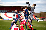 Jamie Cumming of Stevenage saves the ball after attempt at a goal from Bradford City during the EFL Sky Bet League 2 match between Stevenage and Bradford City at the Lamex Stadium, Stevenage, England on 5 April 2021.