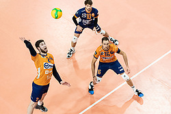 Vucicevic Bozidar of ACH Volley and Pokersnik Jan of ACH Volley during volleyball match between ACH Volley Ljubljana (SLO) and Kuzbas Kemerevo (RUS) n 2nd Round, group B of 2019 CEV Volleyball Champions League, on December 11, 2019 in Hala Tivoli, Ljubljana, Slovenia. Grega Valancic / Sportida