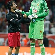 Eskisehirspor's goalkeeper Vanja IVESA (R) during their Turkish Super League soccer match Galatasaray between Eskisehirspor at the TT Arena at Seyrantepe in Istanbul Turkey on Monday, 26 September 2011. Photo by TURKPIX