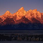 Grand Teton National Park, Grand Teton mountain range in morning alpenglow. Autumn. Wyoming.