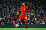 Joel Matip of Liverpool in action. Premier League match, Liverpool v West Ham Utd at the Anfield stadium in Liverpool, Merseyside on Sunday 11th December 2016.<br /> pic by Chris Stading, Andrew Orchard sports photography.