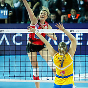 Vakifbank GS TT's Mogentale Glinka MALGORZATA (L) during their Women's Volleyball CEV Champions League semi final match at Burhan Felek Arena in Istanbul, Turkey on 20 March 2011. Photo by TURKPIX