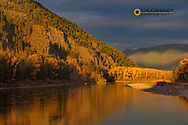 Late light falls on the Flathead River in Bad Rock Canyon near Coumbia Falls, Montana, USA