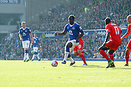 Romelu Lukaku of Everton looks to pass the ball. Barclays Premier League match, Everton v Liverpool at Goodison Park in Liverpool on Sunday 4th October 2015.<br /> pic by Chris Stading, Andrew Orchard sports photography.