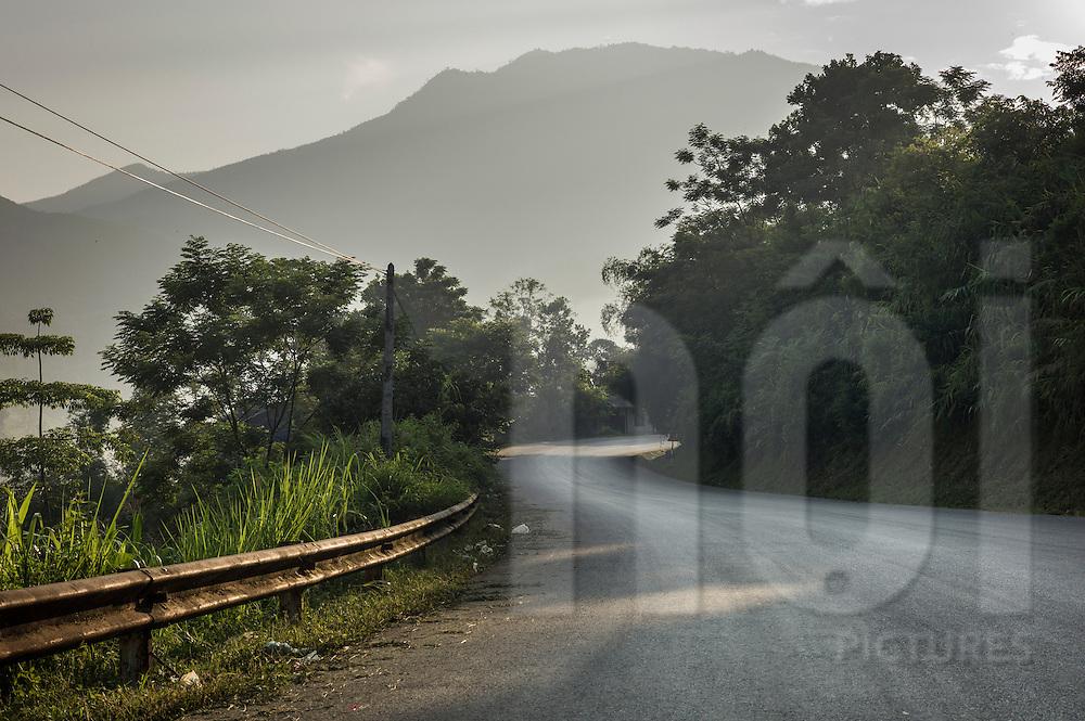 Mountain road winding between Nghia Lo and Mu Cang Chai in Yen Bai Province, Northern Vietnam, Southeast Asia