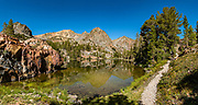 Mid morning at Nutter Lake (on our hike out from Summit Lake) in Hoover Wilderness of Humboldt-Toiyabe National Forest, Eastern Sierra Nevada, Mono County, California, USA. Multiple overlapping photos were stitched to make this panorama. Our backpacking trip from Green Creek Trailhead to Summit Lake was 7.6 miles with 2360 ft gain, 310 ft descent, over a leisurely 3 days, then out on the fourth day.
