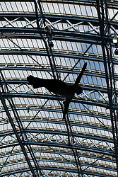 © Licensed to London News Pictures. 14/09/2012. LONDON, UK. The silhouette of a Royal Marine Commando seen during a charity abseil from the roof of St Pancras International in London today (14/09/12). The abseil saw 15 abseilers descend from the roof of the station in an attempt to raise more than £150,000 for the Commando Spirit Appeal on behalf of the Royal Marines Charitable Trust. Photo credit: Matt Cetti-Roberts/LNP