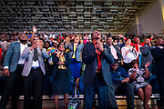 """North Carolina Agricultural and Technical State University students, alumni and guests react as they listen to master communicator T.D. Jakes discuss """"Living Your Best Life"""" at  Chancellor's Speaker Series on Thursday, April 11, 2019.<br /><br />(Chris English/Tigermoth Creative)"""