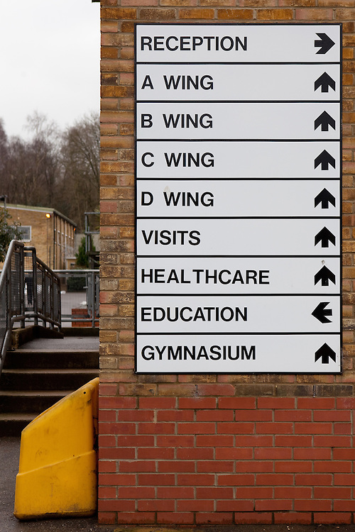 A sign showing directions to different areas of the prison compound.  HMP Send, closed female prison. Ripley, Surrey.