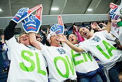 Fans of Slovenia during Ice Hockey match between Slovenia and USA at Day 10 in Group B of 2015 IIHF World Championship, on May 10, 2015 in CEZ Arena, Ostrava, Czech Republic. Photo by Vid Ponikvar / Sportida