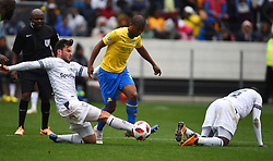 Cape Town-180825- Cape Town City player Roland Putsche challenges  Mamelodi Sundowns Lyle Lakay in the MTN 8 semi-final at Cape Town Stadum.Photographer :Phando Jikelo/African News Agency/ANA