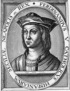 Ferdinand II (1452-1516) of Aragon, the Catholic, Ferdinand V of Castile. Husband of Isabella; Patron of Columbus; Father of Catherine, Henry VIII's first wife. Engraving.