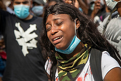 Colleen Harrison of Clayton County, Ga., cries for action on the steps of the Georgia State Capitol building in Atlanta, GA, USA during a protest amid outrage over the death of George Floyd in Minneapolis, on Friday, May 29, 2020. Photo by Alyssa Pointer/Atlanta Journal Constitution/TNS/ABACAPRESS.COM