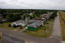 23 Sept 2005.  Port Arthur, Texas.  Hurricane Rita evacuation.  <br /> The deserted streets of downtown Port Arthur, evacuated by almost all residents.  Houses lie just behind the levee which is feared may be breached by Hurricane Rita.<br /> Photo; ©Charlie Varley/varleypix.com
