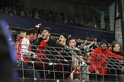 Arsenal fans celebrate their win - Photo mandatory by-line: Dougie Allward/JMP - Mobile: 07966 386802 - 22/10/2014 - SPORT - Football - Anderlecht - Constant Vanden Stockstadion - R.S.C. Anderlecht v Arsenal - UEFA Champions League - Group D