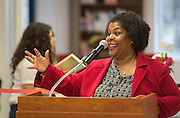 Renita Perry comments during a library dedication at Attucks Middle School, January 18, 2017.