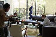 Poet Francisco Hernandez in an interview with Mardonio Carballo. May 19, 2011, Colonia Roma, Mexico City, Mexico.