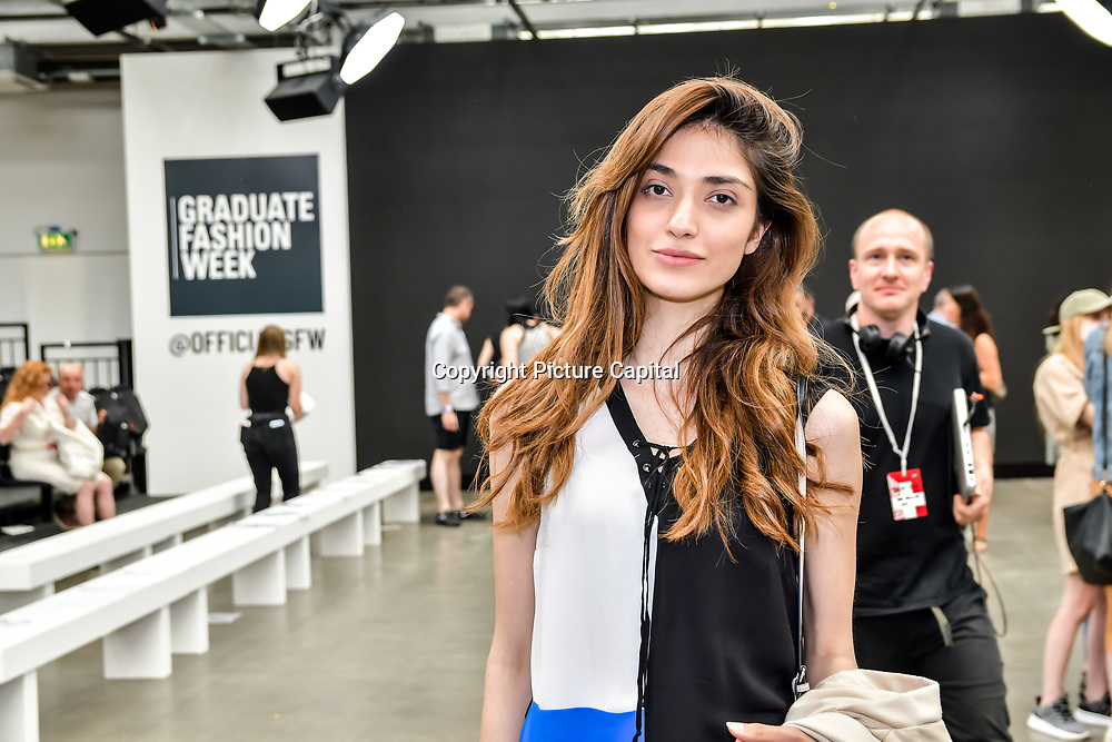 Hedied Naimi is a Model and ArtDirector attend the Graduate Fashion Week 2019 - Day One Exhibitions on 2 June 2019, London, UK.