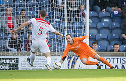 Falkirk's keeper Jamie MacDonald saves.<br /> Raith Rovers 0 v 0 Falkirk, Scottish Championship game played 27/9/2014 at Raith Rovers Stark Park.