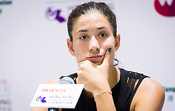 October 9, 2018 - Garbine Muguruza of Spain talks to the media after winning her first-round match at the 2018 Prudential Hong Kong Tennis Open WTA International tennis tournament (Credit Image: © AFP7 via ZUMA Wire)