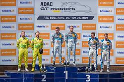 09.06.2019, Red Bull Ring, Spielberg, AUT, ADAC GT Masters Spielberg, Rennen, im Bild v.l.: 2. Platz Maximilian Goetz (GER)/Indy Dontje (NLD) Mercedes AMG GT3, 1. Platz Markus Pommer (GER)/Marvin Kirchhoefer (GER) Corvette C7 GT3-R, 3. Platz Patric Niederhauser (SUI)/Kelvin van der Linde (ZAF) Audi R8 LMS // f.l.: 2nd placed German ADAC GT Masters driver Maximilian Goetz/Dutch ADAC GT Masters driver Indy Indy Dontje Mercedes AMG GT3 Winner German ADAC GT Masters driver Markus Pommer/German ADAC GT Masters driver Marvin Kirchhoefer Corvette C7 GT3-R 3nd placed Swiss ADAC GT Masters driver Patric Niederhauser/South African ADAC GT Masters driver Kelvin van der Linde Audi R8 LMS during the Race for the ADAC GT Masters at the Red Bull Ring in Spielberg, Austria on 2019/06/09. EXPA Pictures © 2019, PhotoCredit: EXPA/ Dominik Angerer