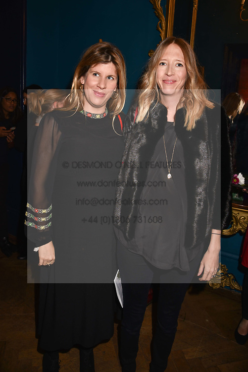Katie Elliot and Flora Hesketh at Mark Shand's Adventures and His Cabinet Of Curiosities VIP private view, 32 Portland Place, London, England. 20 February 2018.