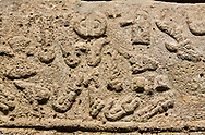 Hittite sculpted Orthostats panel from the  Long Wall.  Limestone, Kargarmis, Gaziantep, 900 - 700 BC,  Hieroglyph. Anatolian Civilizations Museum, Ankara, Turkey.<br /> <br /> In the epigraph with hieroglyph, he narrates that the gods were provoked against him, the account of the cities conquered and the spoils of war; that he allocated a share for the gods, and that he instigated the mighty king Tarhunza and the other gods. In the other lines, he demands that people should present offerings to statues but should evil-intentioned people be among them, such person individuals be punished by the gods. .<br />  <br /> If you prefer to buy from our ALAMY STOCK LIBRARY page at https://www.alamy.com/portfolio/paul-williams-funkystock/hittite-art-antiquities.html  - Type  Karkamıs in LOWER SEARCH WITHIN GALLERY box. Refine search by adding background colour, place, museum etc.<br /> <br /> Visit our HITTITE PHOTO COLLECTIONS for more photos to download or buy as wall art prints https://funkystock.photoshelter.com/gallery-collection/The-Hittites-Art-Artefacts-Antiquities-Historic-Sites-Pictures-Images-of/C0000NUBSMhSc3Oo