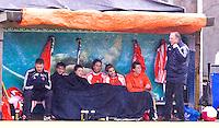 AERDENHOUT - 09-04-2012 - De bank, maandag tijdens de finale tussen Nederland Jongens A en Engeland Jongens A  (3-3) , tijdens het Volvo 4-Nations Tournament op de velden van Rood-Wit in Aerdenhout. Engeland wint met shoot-outs. FOTO KOEN SUYK