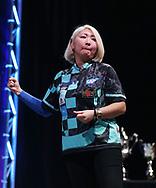 Mikuru Suzuki during the Women's Final at the BDO World Professional Championships at the O2 Arena, London, United Kingdom on 11 January 2020.